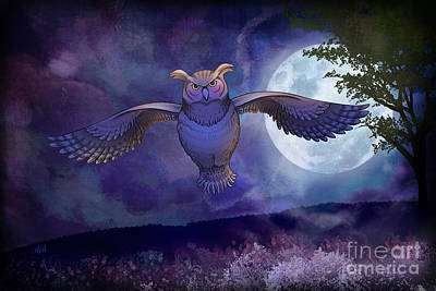 Fear Mixed Media - Night Owl by Bedros Awak