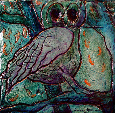 Florida Artists Mixed Media - Night Owl by D Renee Wilson