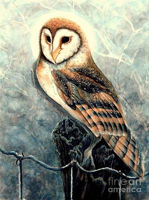 Moonlit Night Painting - Night Owl by Janine Riley