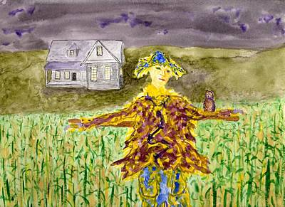 Painting - Night Owl Scarecrow by Jim Taylor