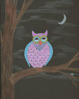 Drawing - Night Owl by Sheila Byers