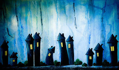 Graphics Painting - Night Owls by Nirdesha Munasinghe