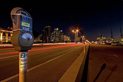 Photograph - Night Parking Meter by Peter Tellone