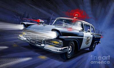 Police Chase Painting - Night Patrol by Sean Svendsen