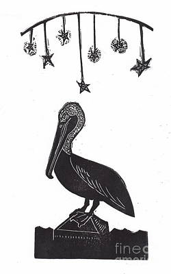 Hawaii Folk Art Drawing - Night Pelican by Coralette Damme