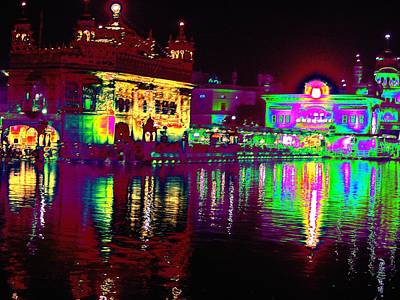 Photograph - Night Reflections At Golden Temple by Anand Swaroop Manchiraju