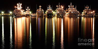 Sea Photograph - Night Reflections In The Harbor by Rossana Coviello