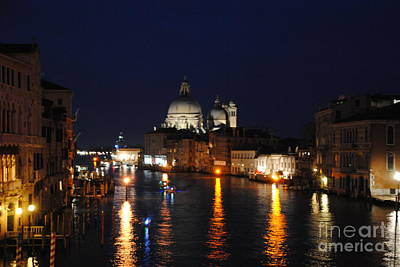 Night Reflections On Grand Canal Art Print by Jacqueline M Lewis