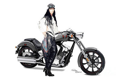 Icon Drawing - Night Rider by Donna  Schellack