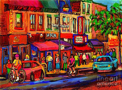 Night Riders On The Boulevard Rue St Laurent And Napoleon Deli Schwartz Montreal Midnight City Scene Art Print