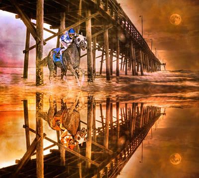 Jockey Digital Art - Night Run IIi Patriotic  by Betsy C Knapp