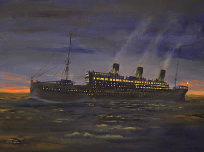 Ocean Liner Painting - Night Running by Christopher Jenkins