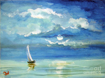 Art Print featuring the painting Night Sail by Carol Hart