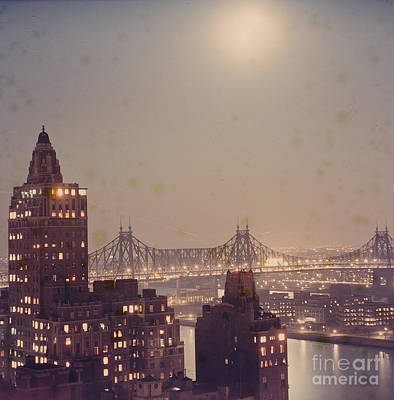Photograph - Night Scene East River by Vintage Photography