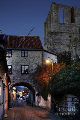 Night Scene In Medieval Town Art Print by Ladi  Kirn