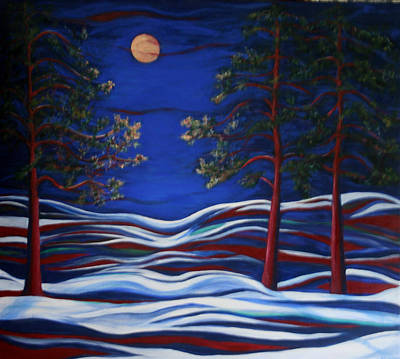 Night Serenity  Art Print by Kathy Peltomaa Lewis