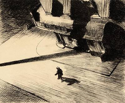 Etching Painting - Night Shadows by Edward Hopper