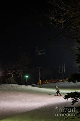 Winter Night Photograph - Night Skiing by Lois Bryan