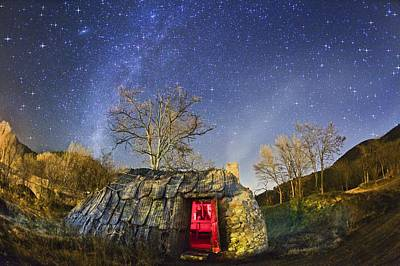 Night Sky And Coaling House Art Print by Juan Carlos Casado (starryearth.com)