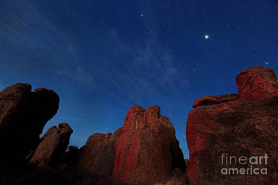 Print featuring the photograph Night Sky City Of Rocks by Martin Konopacki