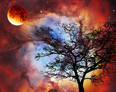 Fantasy Tree Art Painting - Night Sky Landscape Art By Sharon Cummings by Sharon Cummings