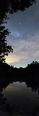 Night Sky Over A Lake Art Print