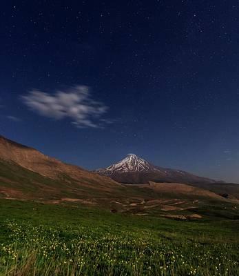 Night Sky Over Mount Damavand Art Print
