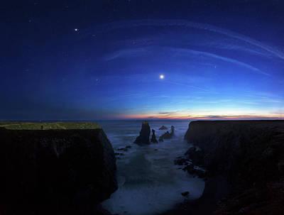 Night Sky Over Port Coton Needles Art Print