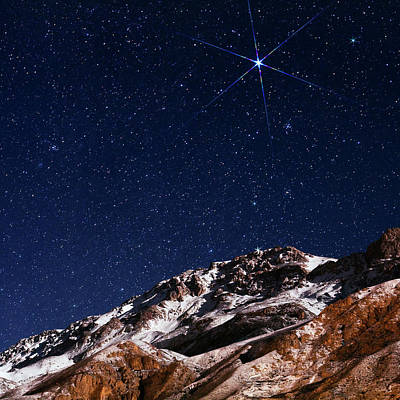 Snowy Night Photograph - Night Sky Over The Alborz Mountains by Babak Tafreshi