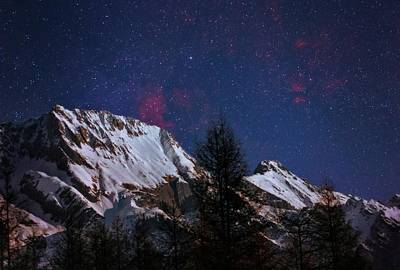 Night Sky Over The Tyrol Alps Art Print