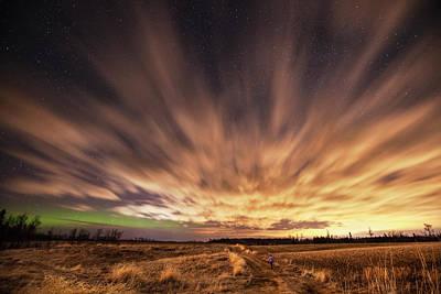 Bright Appearance Photograph - Night Sky With Aurora Borealis  Thunder by Susan Dykstra