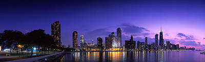 Night Skyline Chicago Il Usa Print by Panoramic Images