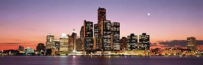 Renaissance Center Photograph - Night Skyline Detroit Mi by Panoramic Images