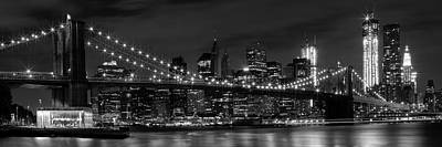 Brooklyn Bridge Photograph - Night-skyline New York City Bw by Melanie Viola