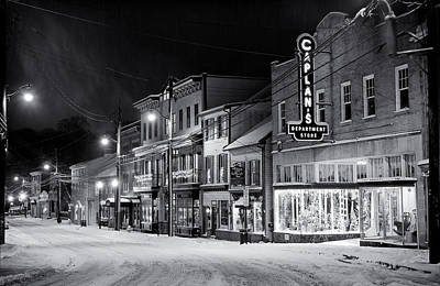 Night Snow Ellicott City Maryland Art Print