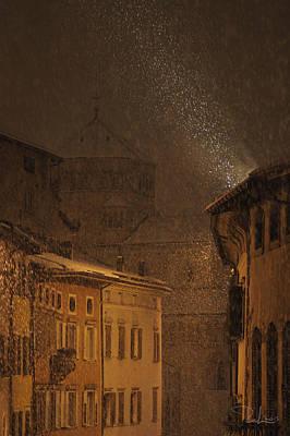 Photograph - Night Snowfall by Raffaella Lunelli