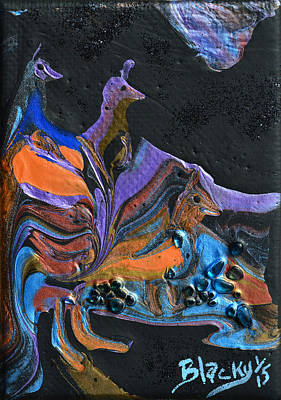Glass Art Painting - Night Stalkers by Donna Blackhall