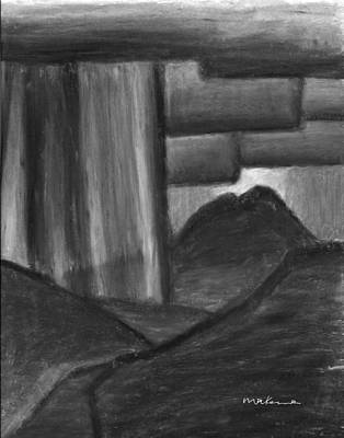 Painting - Night Storm Over Mt Sopris Black And White by Carrie MaKenna