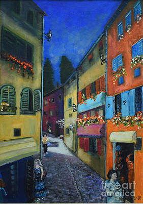 Painting - Night Street In Pula by Raija Merila