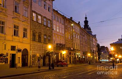 Lviv Photograph - Night Street Scene by Bill Bachmann