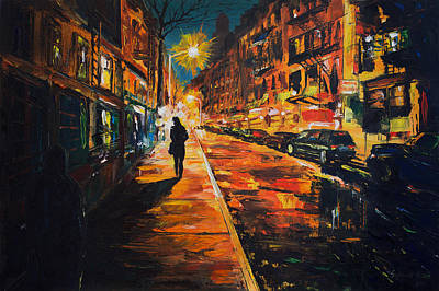 Painting - Night Street. Woman Walking In Cornelia Sreet Ny. by Salavat Fidai