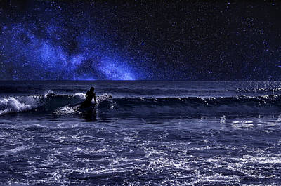 Astros Photograph - Night Surfer by Laura Fasulo