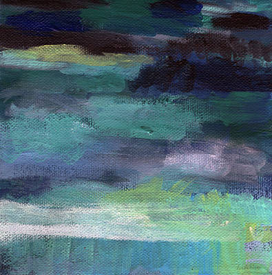 Purple Sky Painting - Night Swim- Abstract Art by Linda Woods