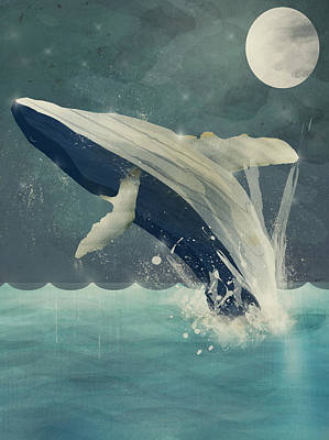 Colourfull Painting - Night Swimming by Bleu Bri