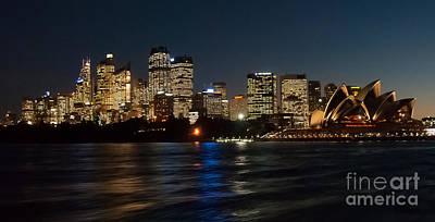Sydney Skyline Photograph - Night Sydney Skyline by Bob and Nancy Kendrick