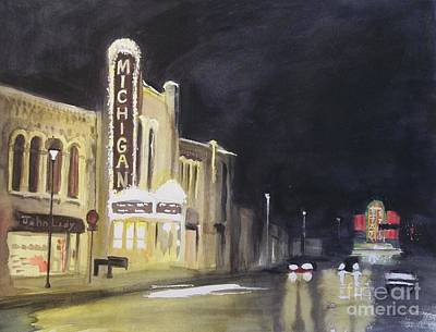 Night Time At Michigan Theater - Ann Arbor Mi Art Print by Yoshiko Mishina