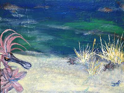 Large White Sea Shell Painting - Night Time At The Beach Part 1 Of 2 by Troy Schroeder