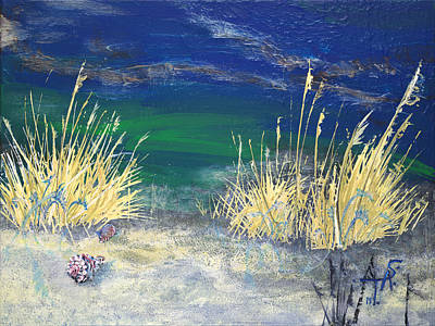 Large White Sea Shell Painting - Night Time At The Beach Part 2 Of 2 by Troy Schroeder