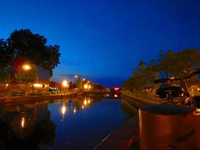 Wall Art - Photograph - Night Time Canal by Jackie and Noel Parry