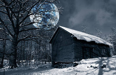 Night Time Landscape During Winter And Snow Art Print by Christian Lagereek